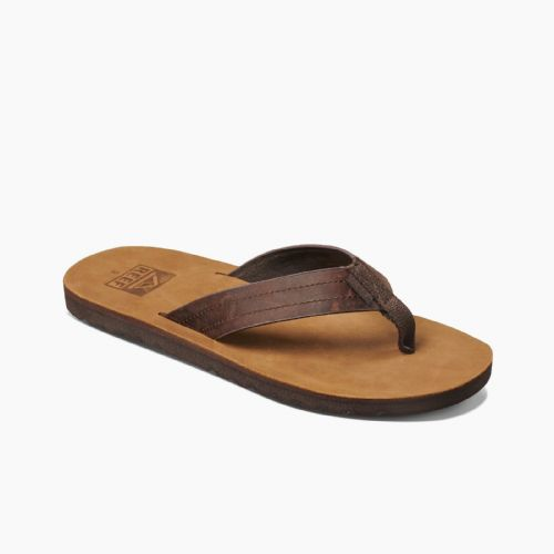 REEF MENS FLIP FLOPS.NEW VOYAGE LE LEATHER ARCH SUPPORT THONGS SANDALS 8S YFR DB
